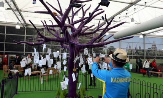 The Memory Tree, where 2012 Olympians hung messages of their most significant moments. The Tree is at Terminal 4, Heathrow.