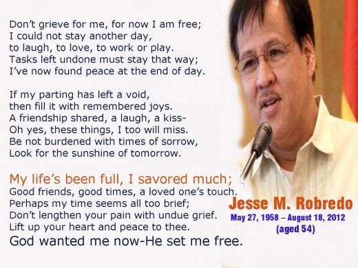 A Poem for Bicolanos who are grieving for sudden demise of Sec. Jesse Robredo ... Sent by a Nurse from Orange City, California (Michelle de Leon - a former resident of Tabuco, Naga City)