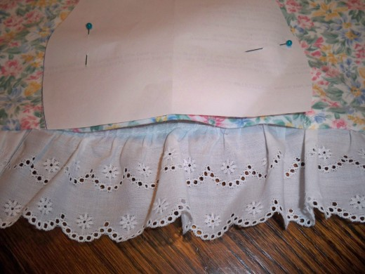 View of pattern sewn above the opening.