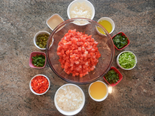 Ingredients for fresh citrus salsa.