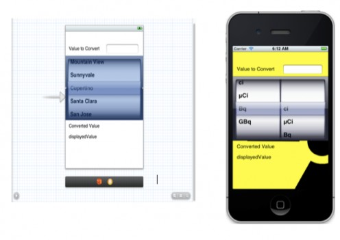 Curie Converter layout in Xcode and the app running in iOS Simulator