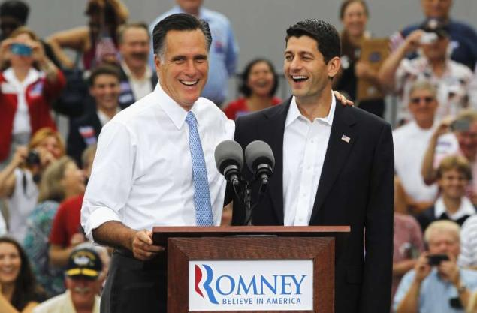 Mitt Romney and his running mate, Paul Ryan