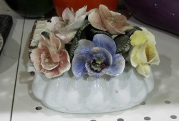 I photographed this bone china posie at a thrift store. It was a bit pricey for the amount of chips and broken flowers/ petals. I didn't buy it.