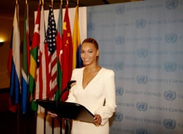 Beyonce visits the United Nations for 'World Humanitarian Day'.