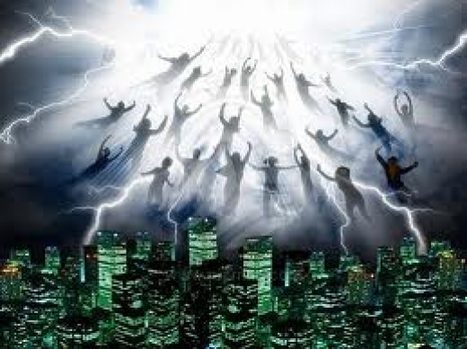 "The Biblical event to come is called the ""Rapture."" the actual words for it in Scripture are ""caught up"" when Jesus calls all believers and children home to Him in the air and the people left behind are caught off guard because they're not ready."