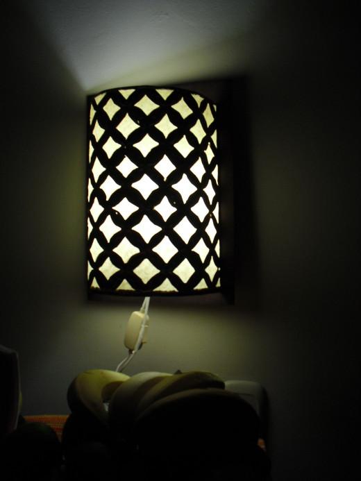 Lamp as seen at night.