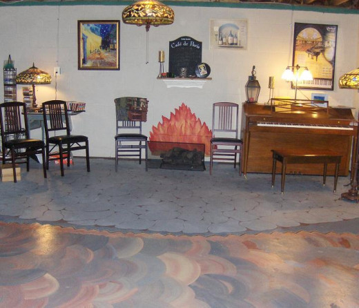I really wanted a fireplace in the basement, but I made do-The Van Gogh Cafe