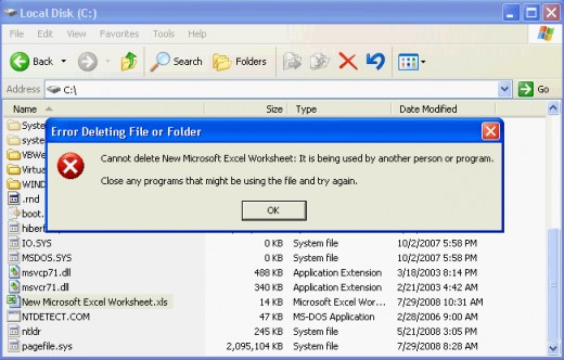 Typical Windows error: a file cannot be deleted if it is in use.