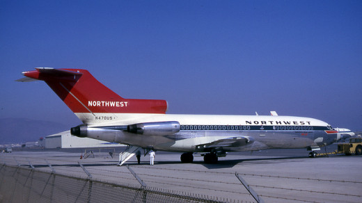 A Northwest Orient Boeing 727-51 – Note Rear Stairs Extended