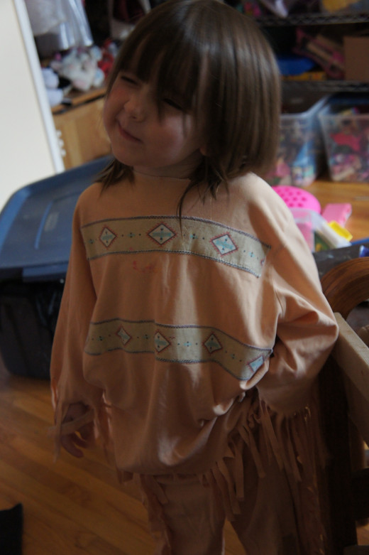 My younger daughter acting the part of Pocahontas