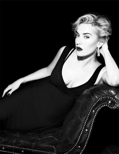 Kate Winslet classy as usual wearing a low cut number for a photoshoot.
