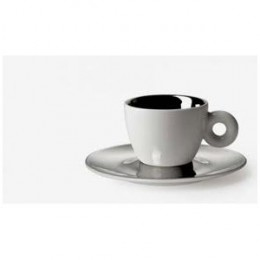 """The artist, Anish Kapoor, designed a cup and saucer set which has a platinum saucer with a hole in the centre that sits on top of the cup. As described in illy website literature, """"the flickering reflections become form and touch on themes such as do"""