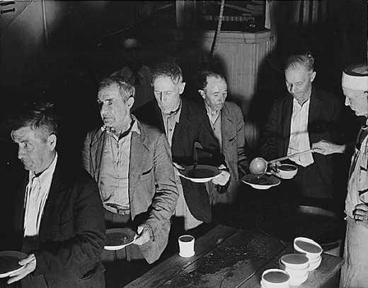 Soup line from the Great Depression.  Courtesy of the National Archives.