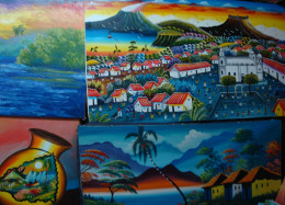 Stylized scenery paintings that are typical of Nicaragua, from the main market.
