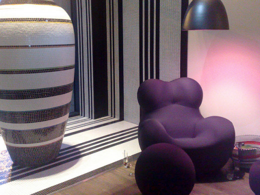 Sitting area inside the Edinburgh's Hotel Missoni, at the bar.