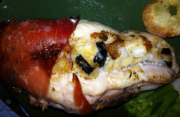 Cooked stuffed chicken breast
