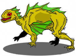 This artist rendering captures the general idea of the Chupacabra.