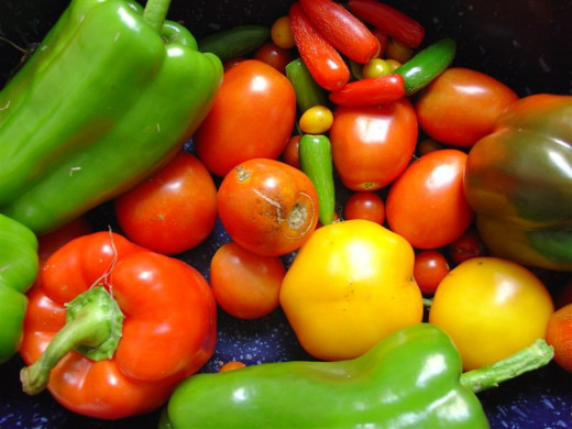 Buy colorful peppers when they are in season and on sale.
