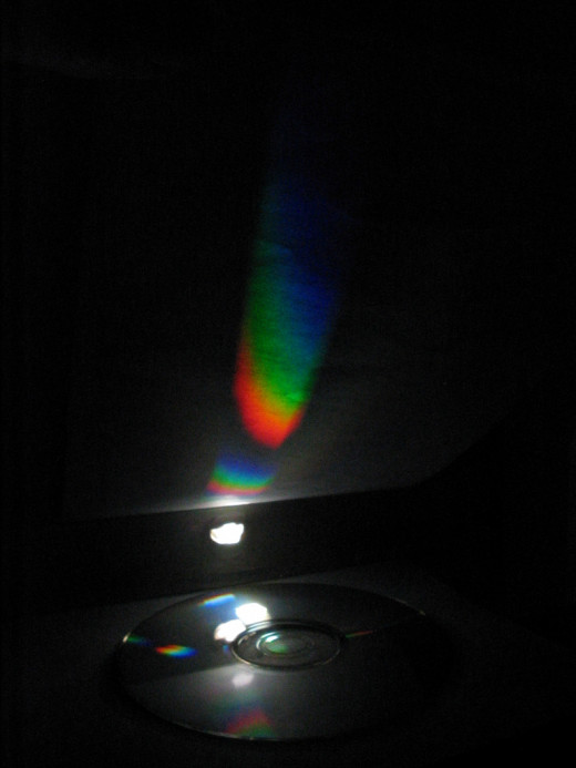You can see the colors in white light very easily using a CD.  Get a compact disk out and look at the colors made by the light.  Try the green lamp from the experiments.  It will look different from the white light.