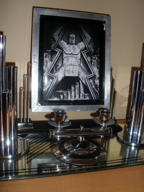 Example of deco art and a collection of chrome accessories.