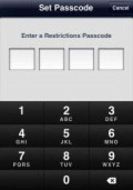 Set Passcode on Restrictions