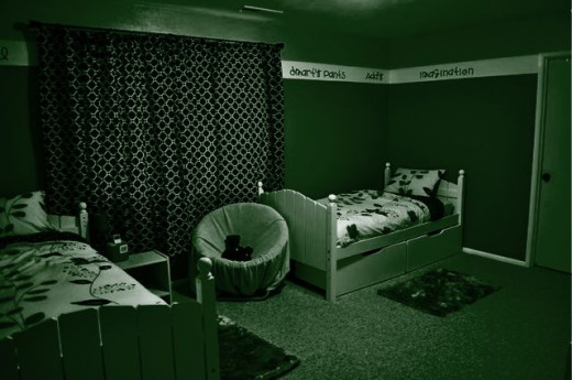 You only had a green light to work under when you painted your room.  This is what it looked like when you were done.  Do you think you chose good colors?