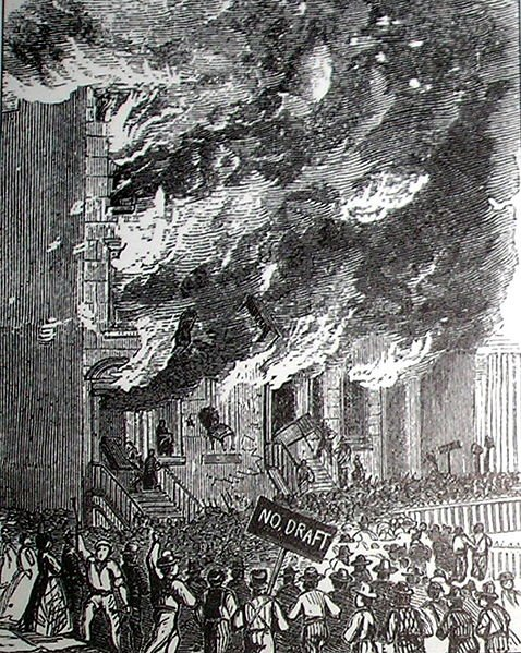 Rioters attack a building on Lexington Avenue during the New York Draft Riot of 1863.