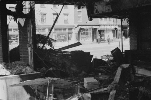 This store in Washington, D.C., was destroyed during riots in response to the assassination of Civil Rights Leader Martin Luther King, Jr. in 1968.