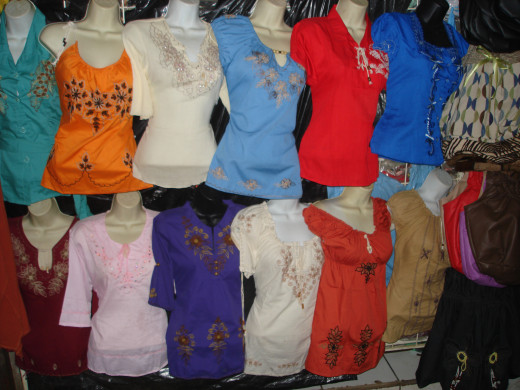Blouses in the main market.