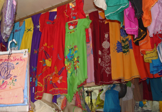 Colorful embroidered dresses in the main market.