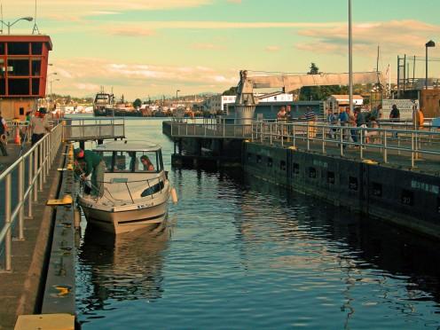 Boat traveling through the Ballard Locks