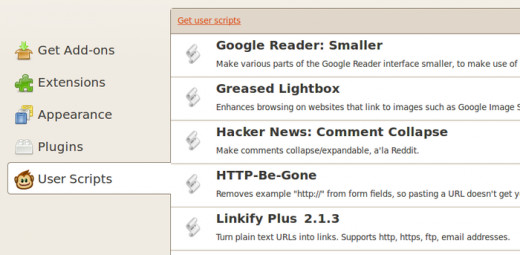 GreaseMonkey list with user scripts and plugins