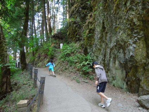 Kids Running on Multnomah Falls Walking Trail