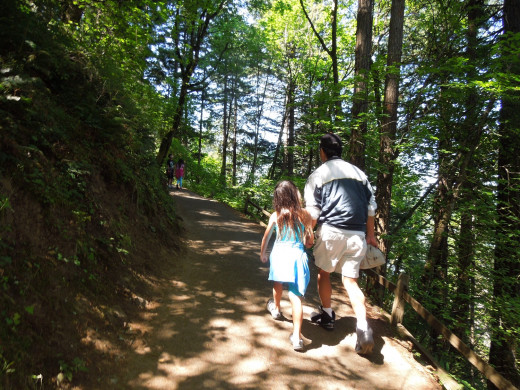People Walking in Multnomah Falls Walking Trail