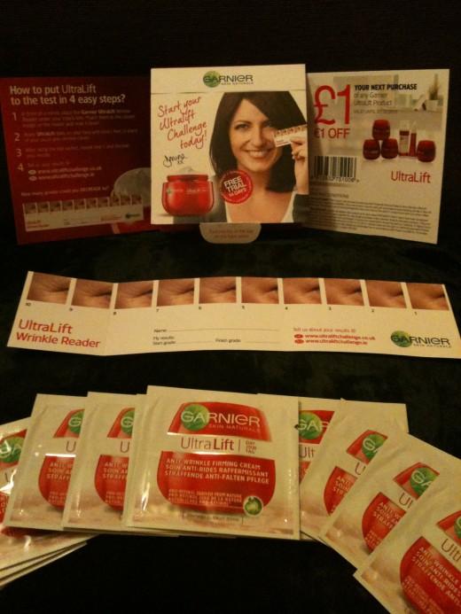 The Lovely Garnier UltraLift Freebie Pack.  Photo © Redberry Sky 2012.
