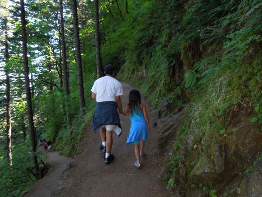 People Walking on Multnomah Falls Walking Trail