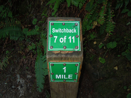 One-Mile Sign on Multnomah Falls Walking Trail