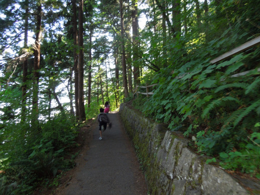 Kids Racing on Multnomah Falls Walking Trail