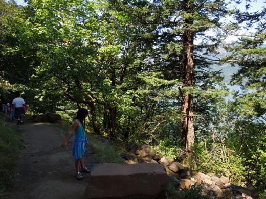 A Girl on Multnomah Falls Walking Trail