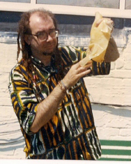 Bard of Ely holds up a kombucha scoby