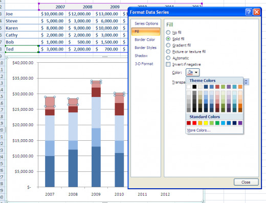 Formatting window in Excel