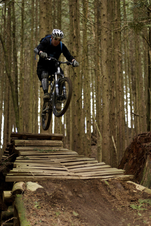 Freeride biking bridges the gap between downhill and park riding.