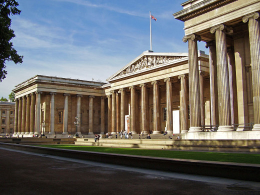 The image of the British Museum, as seen from the northeast, was uploaded to Wikimedia Commons by the museum.
