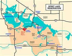 A map of the Spirit Lake Nation in North Dakota
