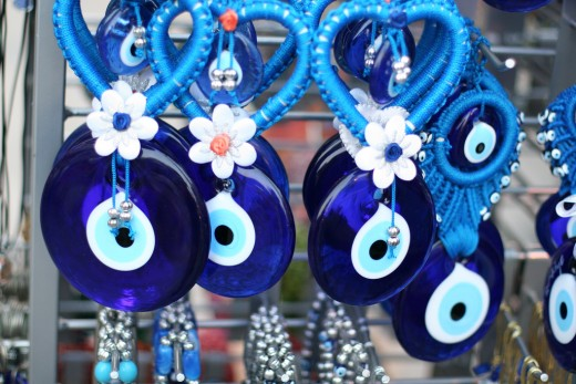 Blue amulets guarding against the evil eye