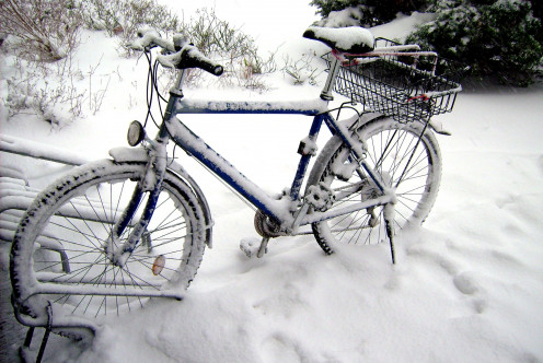 Leaving your bicycle outside during the winter is an obvious poor choice.