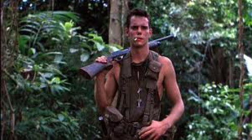 Platoon was based on events from the Vietnam war and it had a great cast including: Charlie Sheen and Tom Baringer.