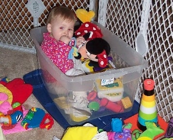 Use large plastic bins for toy storage, to minimize the clutter in both bedrooms and play rooms.