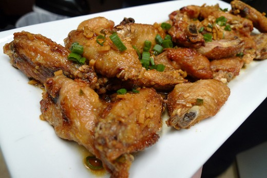 Fried chicken wings with octo vinaigrette.