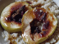 Baked Apple Rings Over Oatmeal
